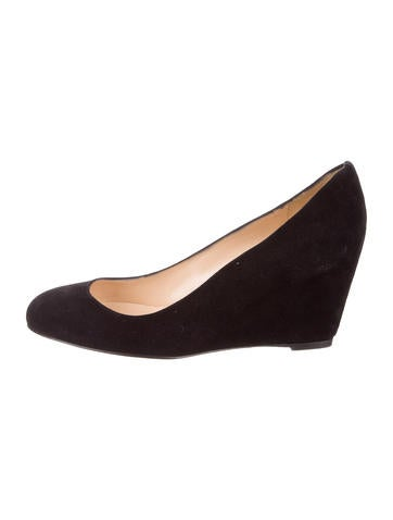 Christian Louboutin Suede Round-Toe Wedges None