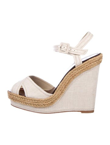 Christian Louboutin Crossover Wedge Sandals None
