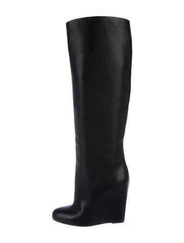 Christian Louboutin Leather Knee-High Wedge Boots None