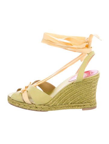 Christian Louboutin Bow Espadrille Wedge Sandals None