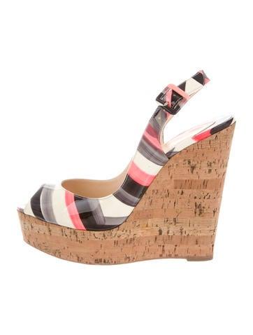 Christian Louboutin Slingback Wedge Sandals None