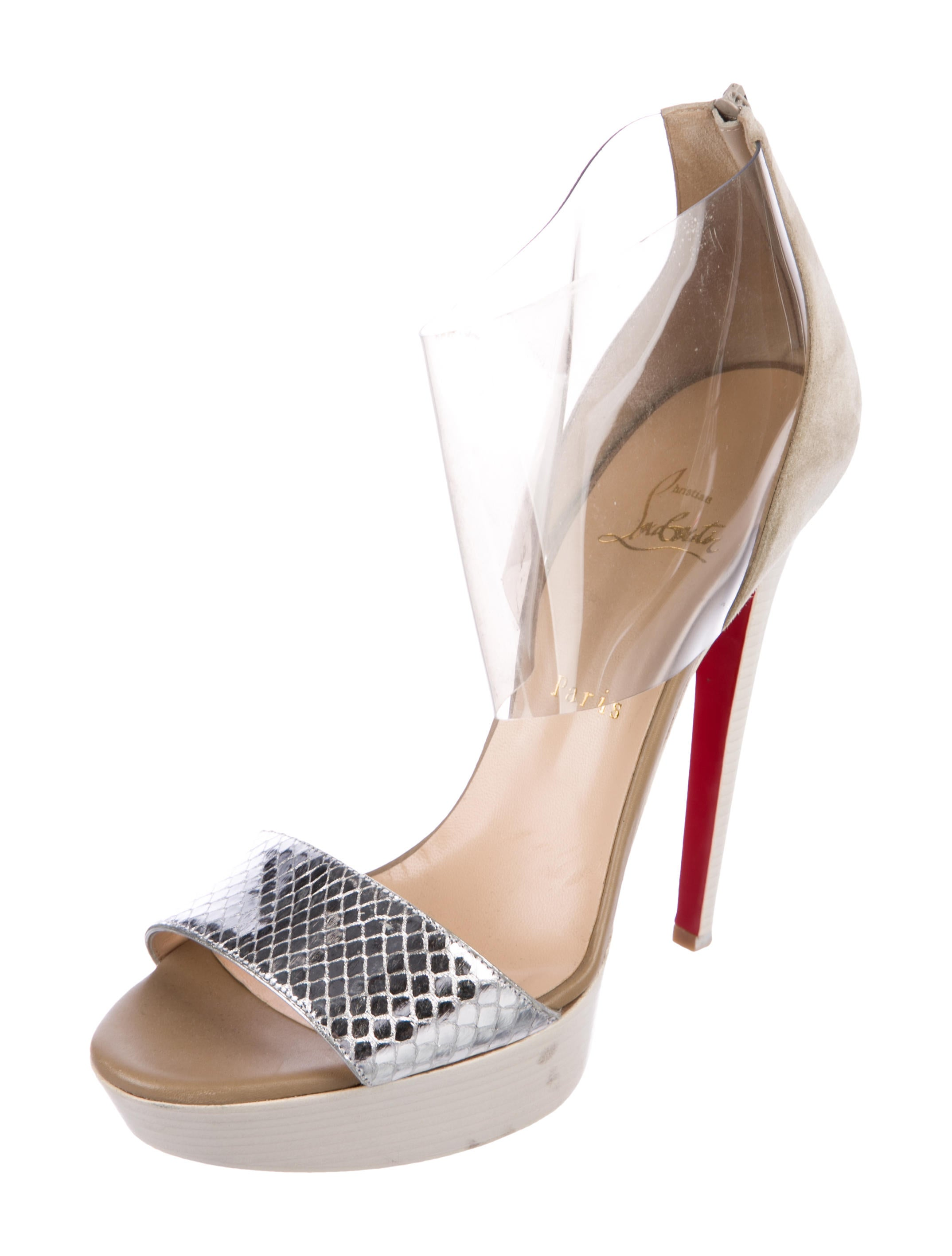 Christian Louboutin Dufoura 140 Snakeskin-Trimmed Sandals free shipping supply uR1Y8G