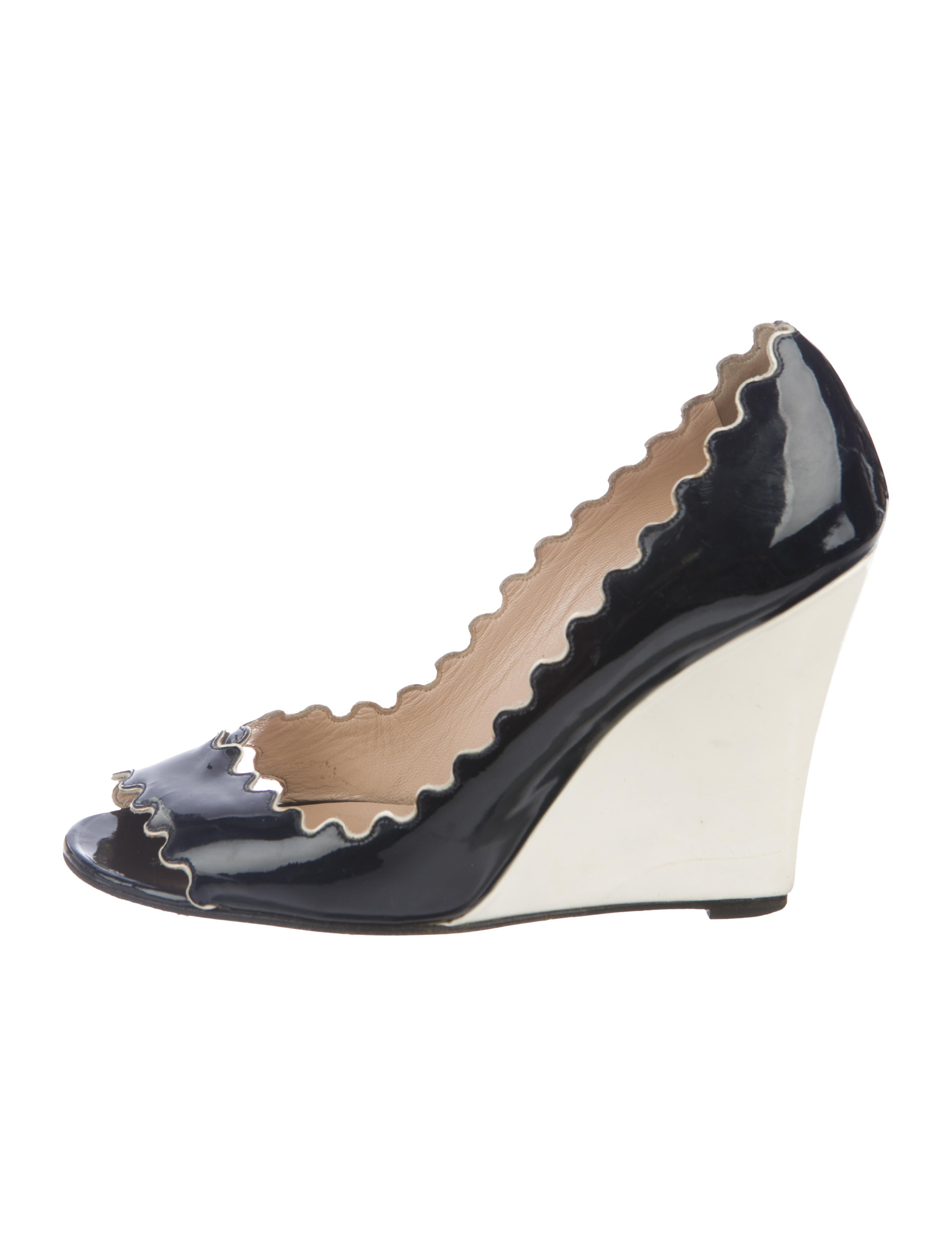 low price fee shipping online cheap sale finishline Christian Louboutin Scalloped Peep-Toe Wedges visa payment online prices cheap price buy cheap best seller 1m7uF