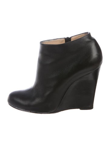 Christian Louboutin Leather Wedge Booties None