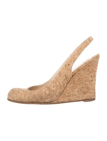 Christian Louboutin Cork Slingback Wedges None