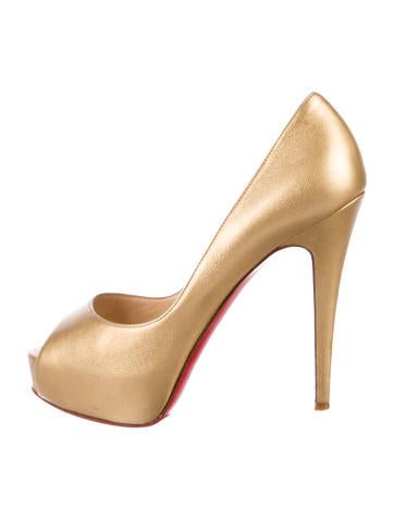343d622278bf Christian Louboutin. Leather Peep-Toe Pumps