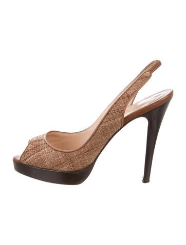 Christian Louboutin Raffia Slingback Sandals None