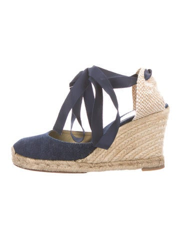 Christian Louboutin Denim Espadrille Wedges None