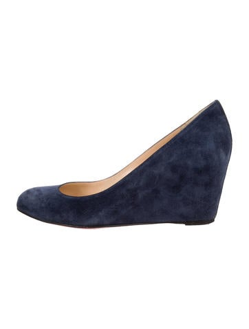 Christian Louboutin Rounded-Toe Suede Wedge Pumps None