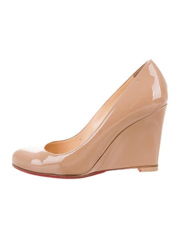 Christian Louboutin Patent Leather Round-Toe Wedges None