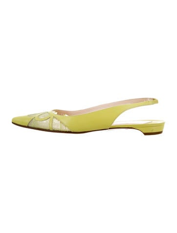 online retailer 65e84 95639 Christian Louboutin Lace-Accented Slingback Flats