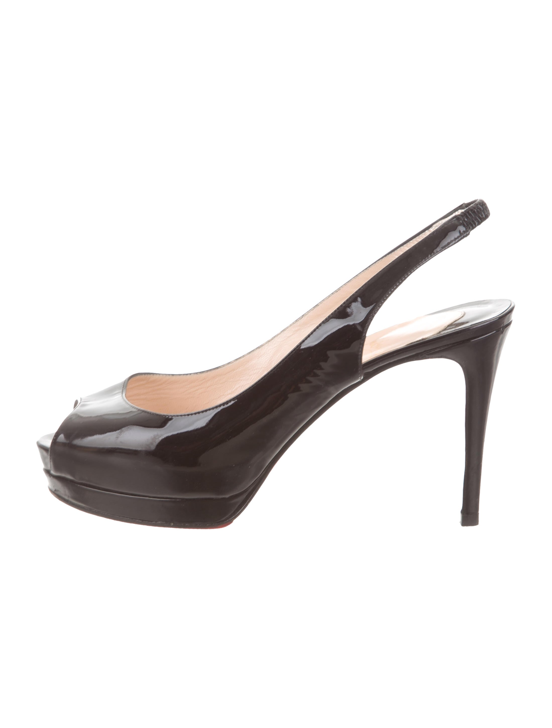 6aa6bf358703 Christian Louboutin Patent Leather Slingback Pumps - Shoes ...