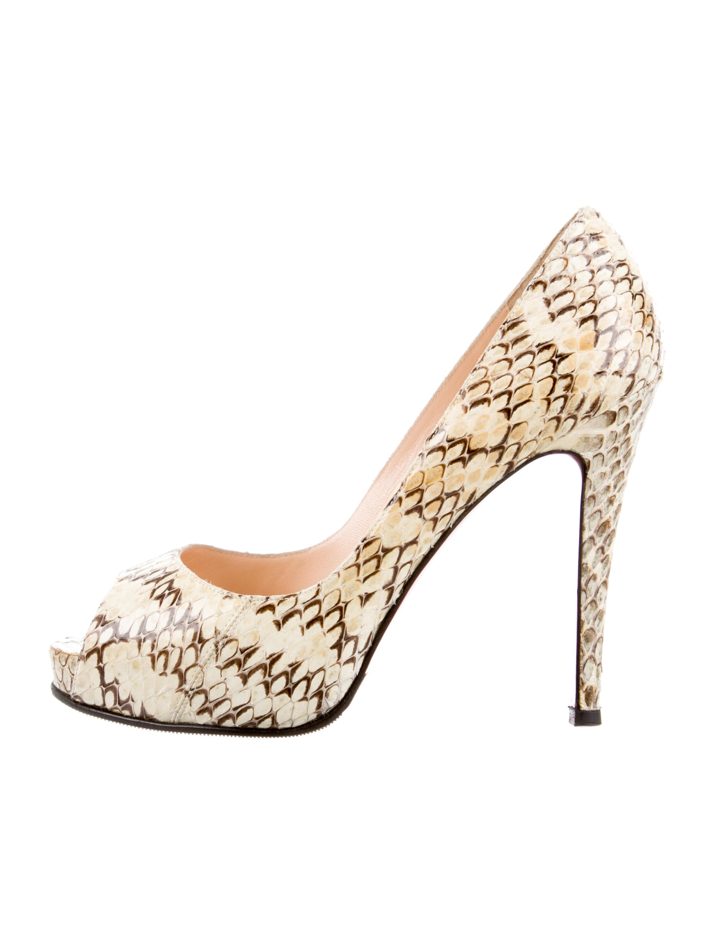 info for ef883 1e62b Christian Louboutin Python Peep-Toe Pumps - Shoes - CHT99083 ...