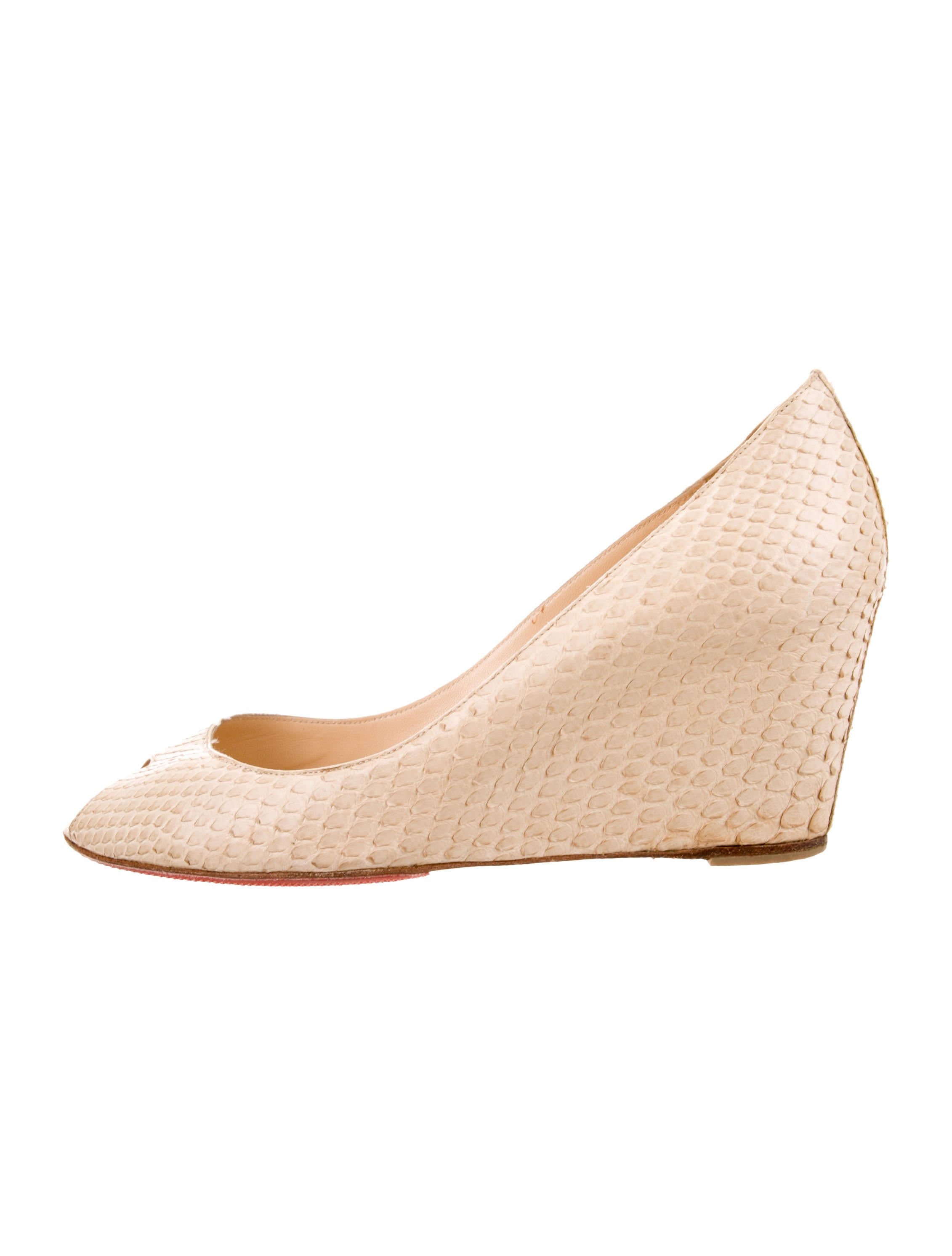 new products 22a86 26016 Christian Louboutin Python Peep-Toe Wedges - Shoes ...