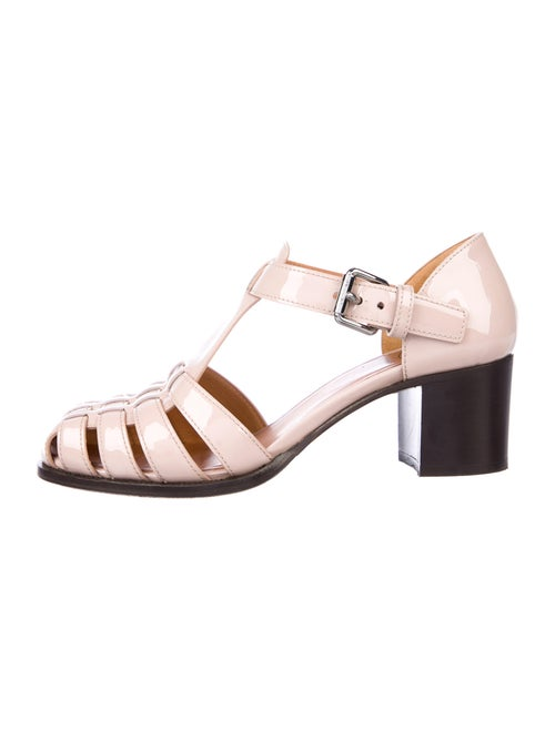 Church's Patent Leather T-Strap Sandals Pink