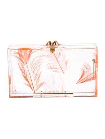 Pandora Feather Perspex Box Clutch