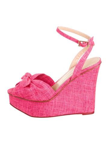 Bow-Embellished Wedge Sandals