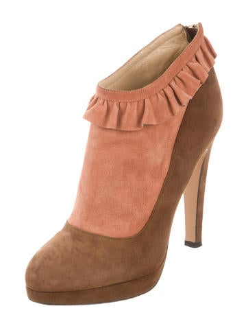 Suede Colorblock Ankle Boots
