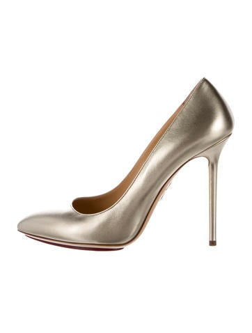 Charlotte Olympia Pointed-Toe Metallic Pumps None