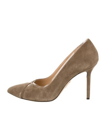 Charlotte Olympia Suede Pointed-Toe Pump None