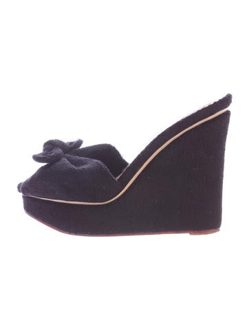 Charlotte Olympia Bow-Accented Woven Wedges None