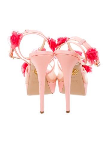 Satin Embellished Platform Sandals