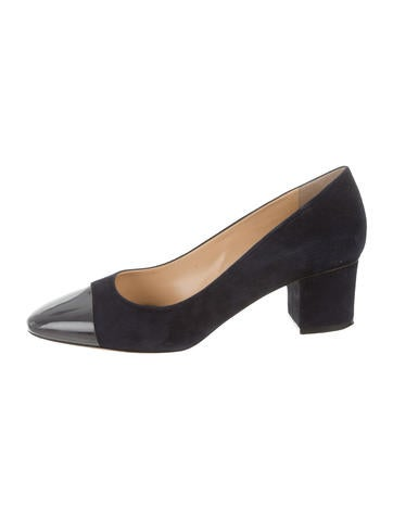 Charlotte Olympia Suede Cap-Toe Pumps None