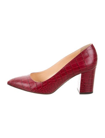 Charlotte Olympia Liz Embossed Leather Pumps None
