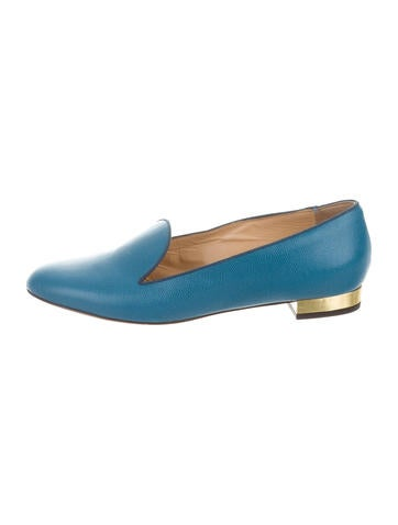 Charlotte Olympia Leather Round-Toe Loafers None