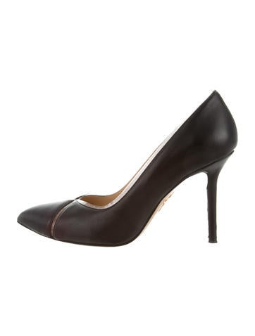 Charlotte Olympia Leather PVC-Trimmed Pumps None