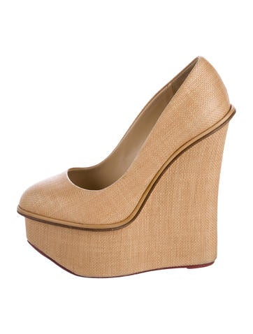 Charlotte Olympia Woven Platform Wedges None