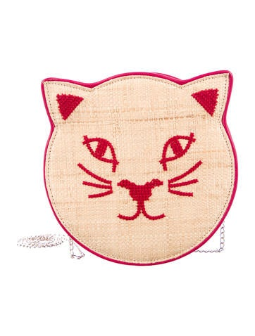Charlotte Olympia Pussycat Raffia Crossbody Bag None
