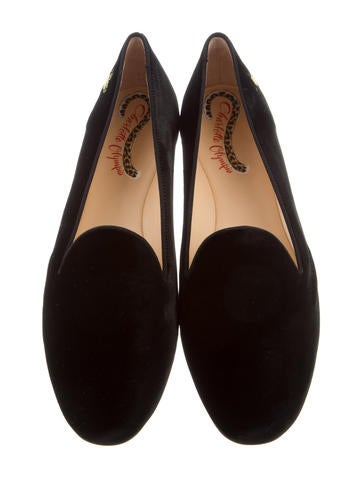cheap sale Cheapest in China sale online Charlotte Olympia Velvet Round-Toe Loafers w/ Tags clearance purchase EpOnqttM5o