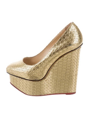 Charlotte Olympia Metallic Woven Wedges None