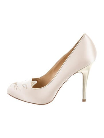 Charlotte Olympia Satin Kitty Pumps None