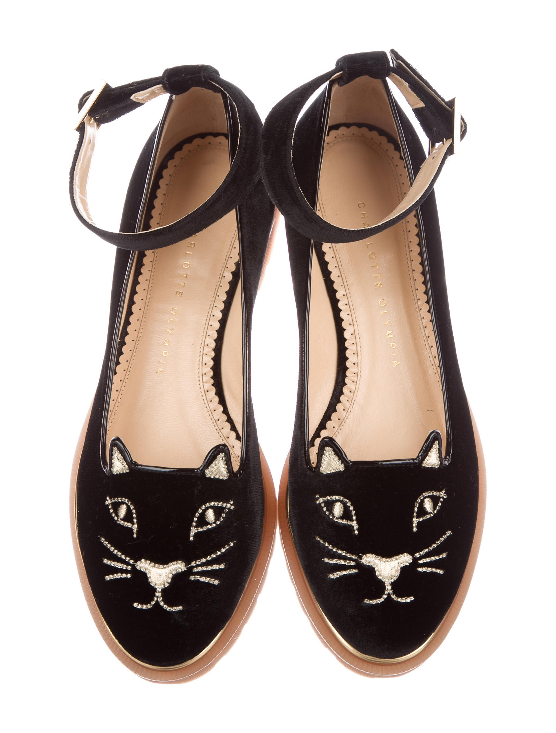 Charlotte Olympia Creeping Kitty Velvet Flats w/ Tags cheap sale view 2014 unisex cheap online fmNRw0