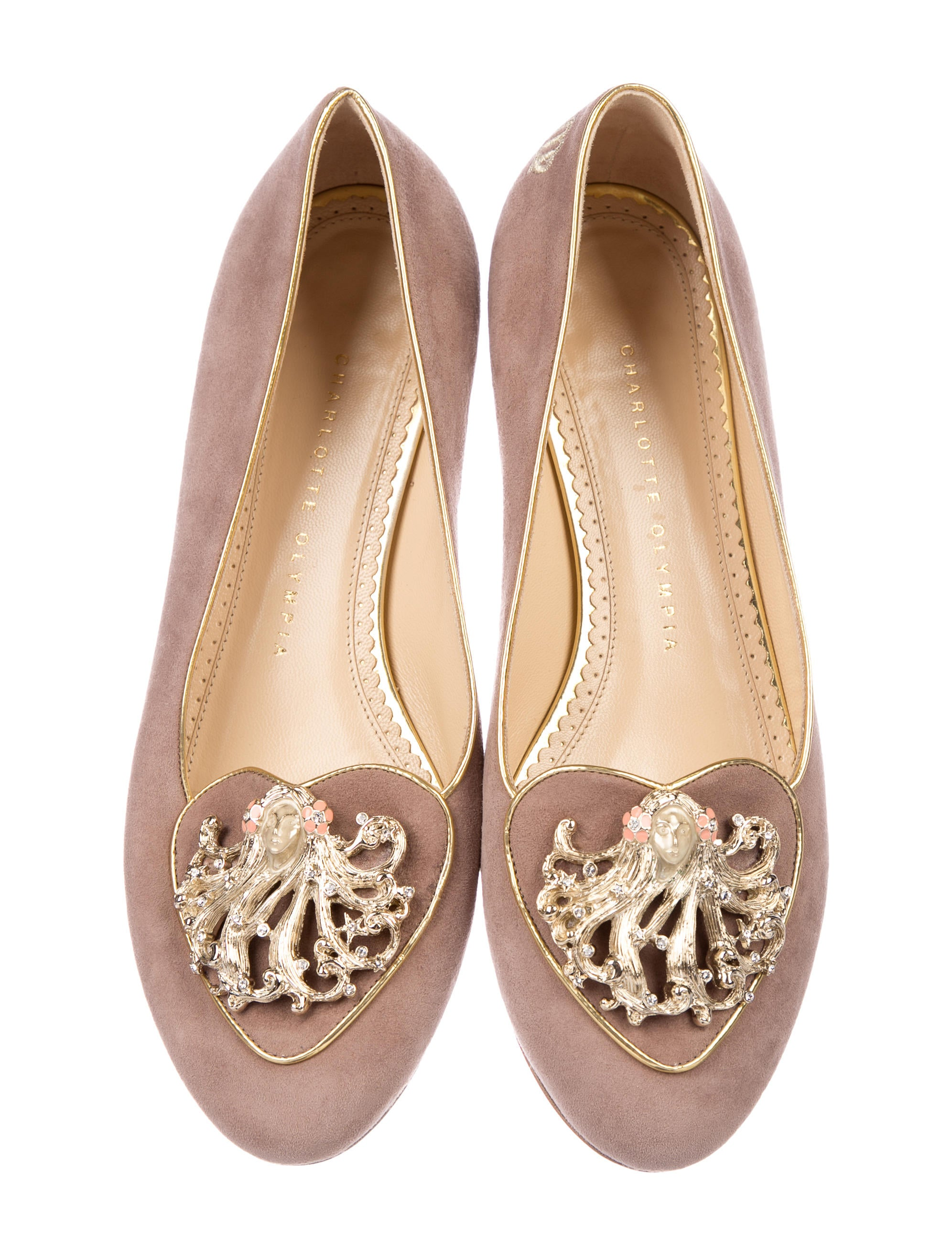 collections cheap price cheap 2015 new Charlotte Olympia Suede Virgo Flats with paypal cheap price LiaVGck5wM
