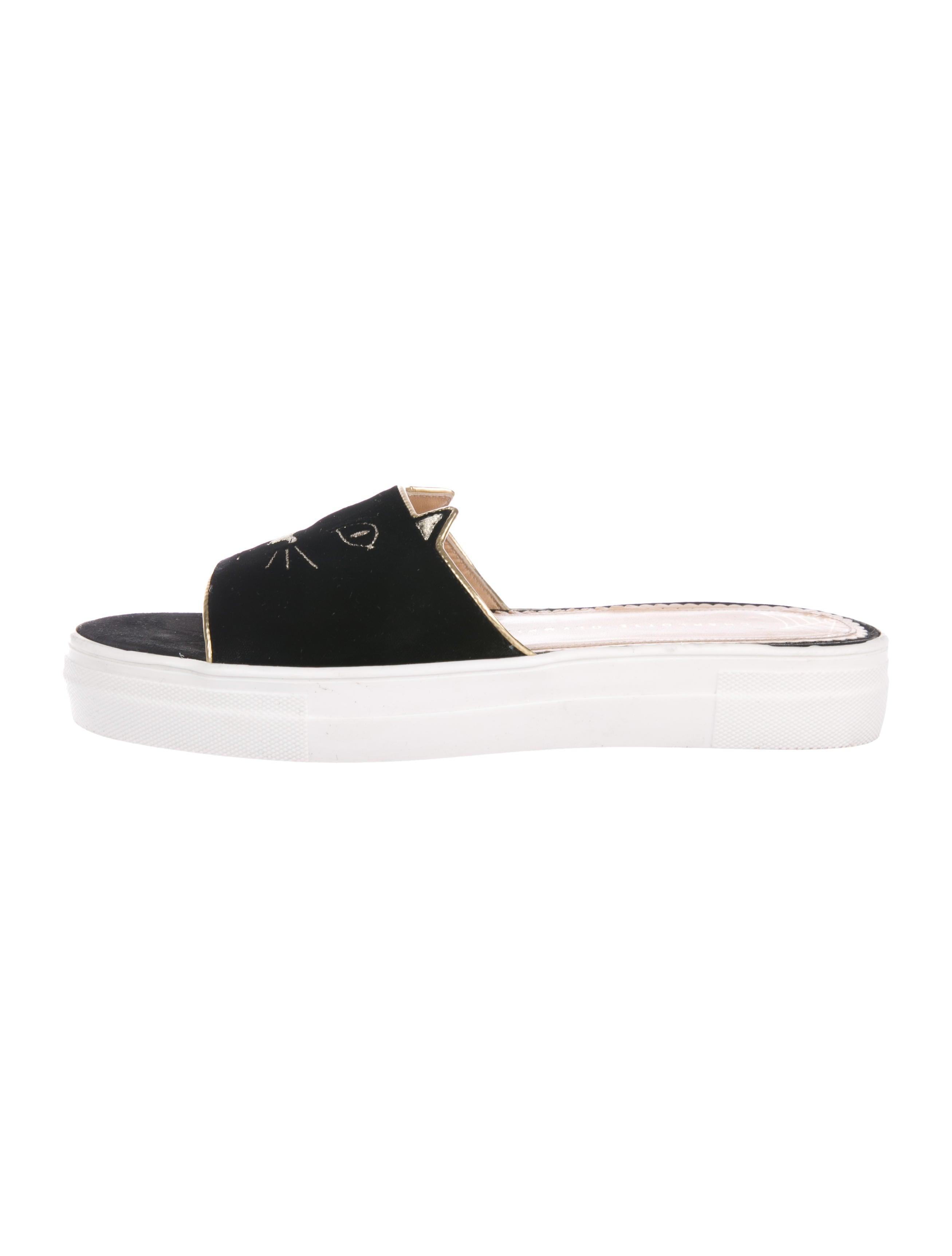 c30d26f8a Charlotte Olympia Kitty Pool Velvet Slides - Shoes - CIO27858
