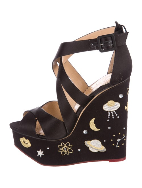 Charlotte Olympia Space Age Satin Wedges Black - image 1