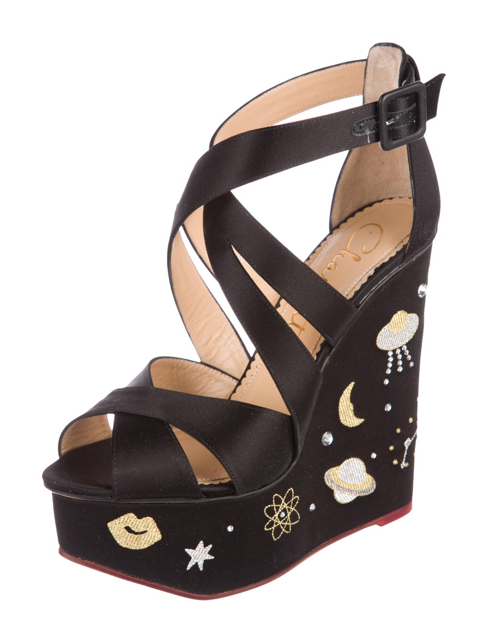 Charlotte Olympia Space Age Satin Wedges Black - image 2