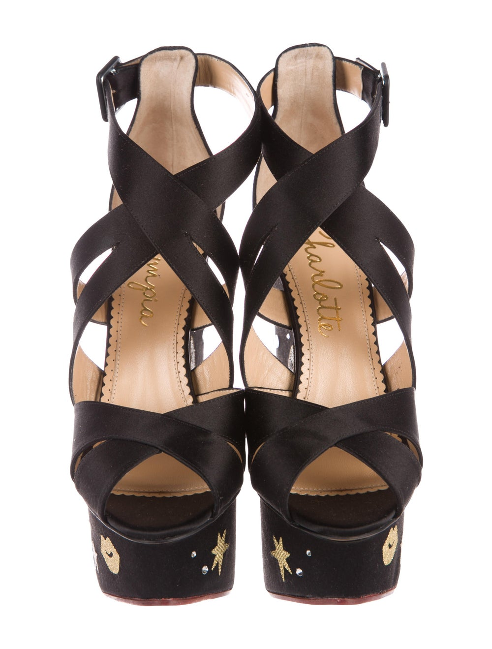 Charlotte Olympia Space Age Satin Wedges Black - image 3