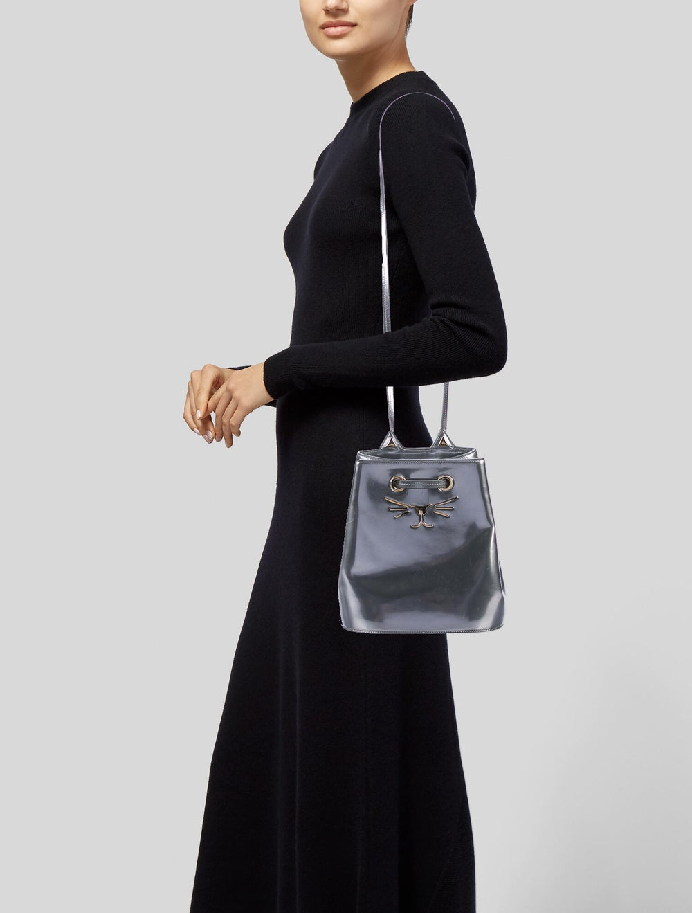Charlotte Olympia Patent Leather Cat Bucket Bag S… - image 2