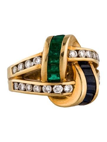 18K Diamond, Sapphire and Emerald Ring
