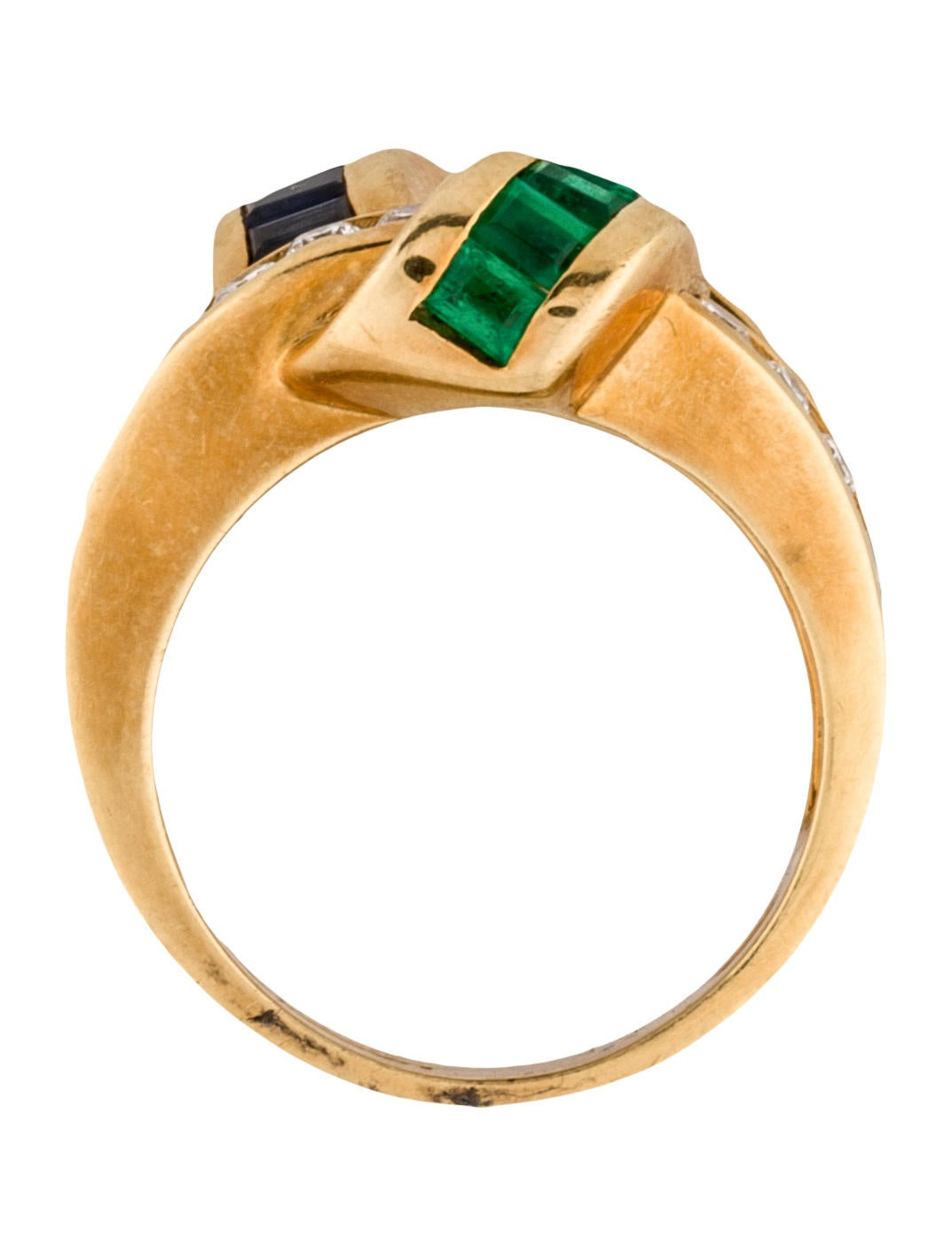 charles krypell 18k sapphire and emerald ring