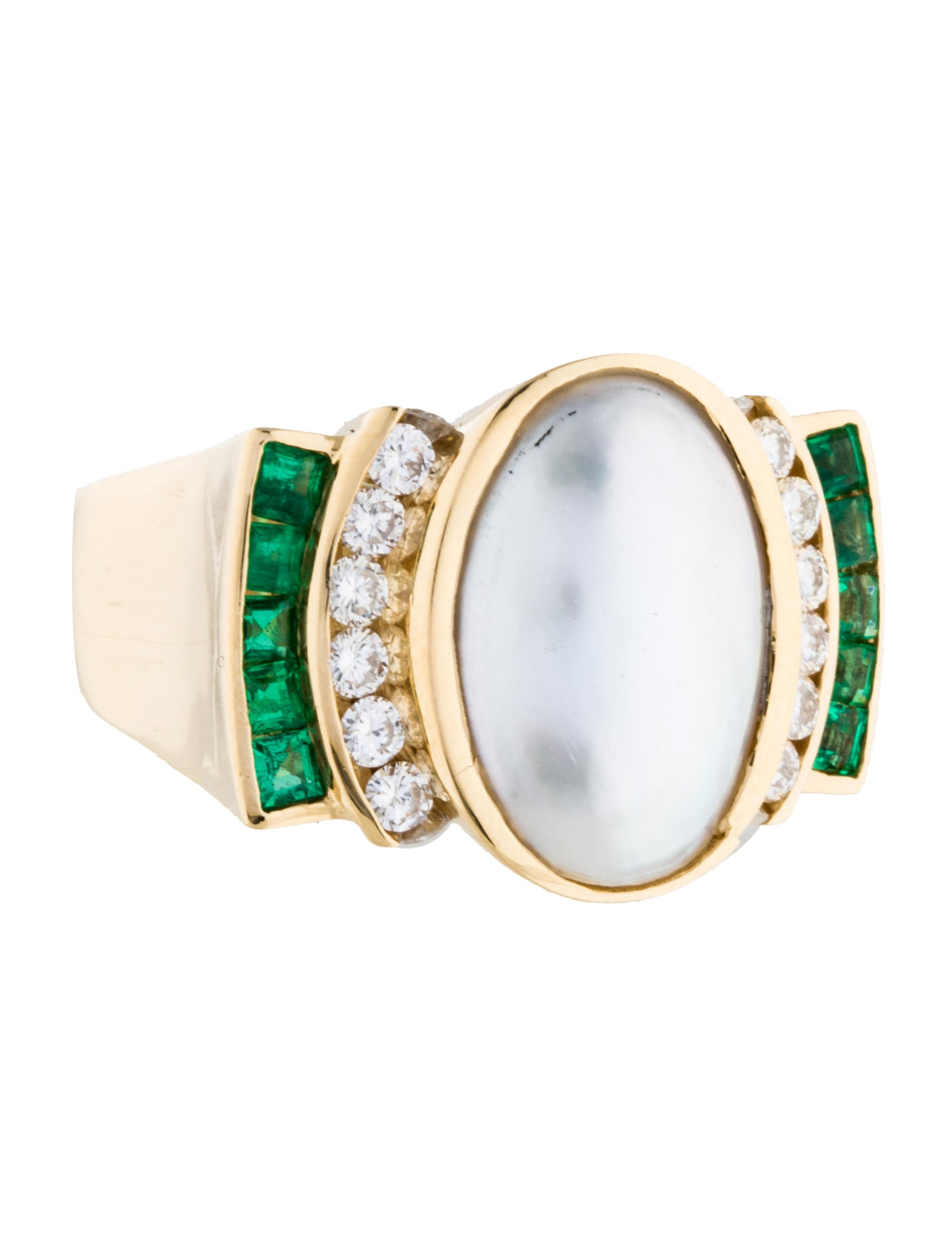 charles krypell pearl emerald and cocktail ring