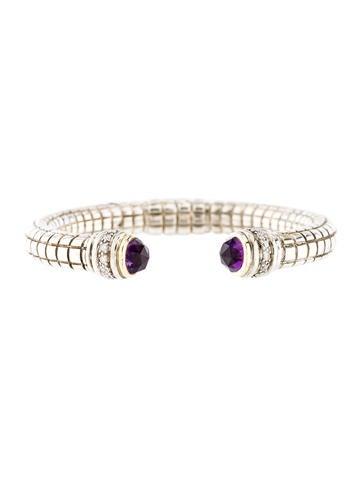Charles Krypell Amethyst & Diamond Cuff Bracelet