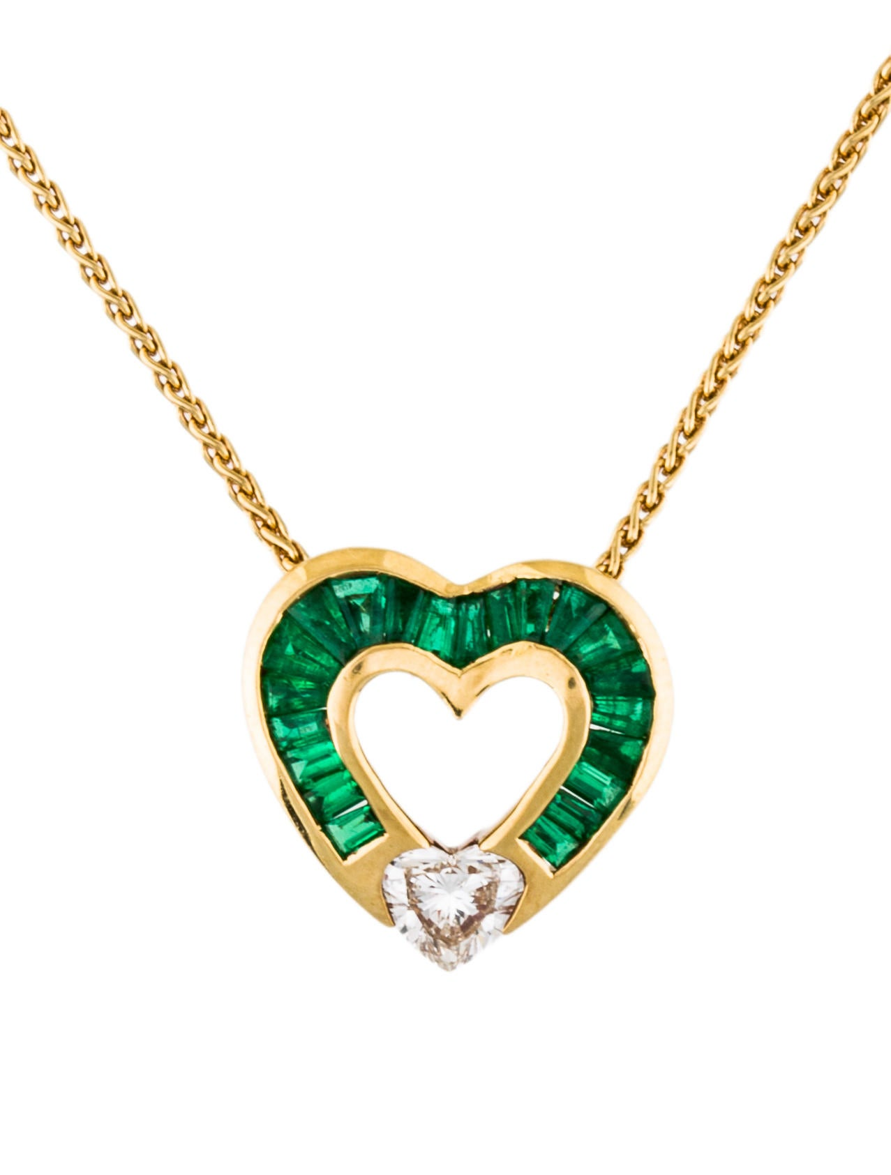 Charles krypell 18k diamond emerald heart pendant necklace 18k diamond emerald heart pendant necklace aloadofball Gallery