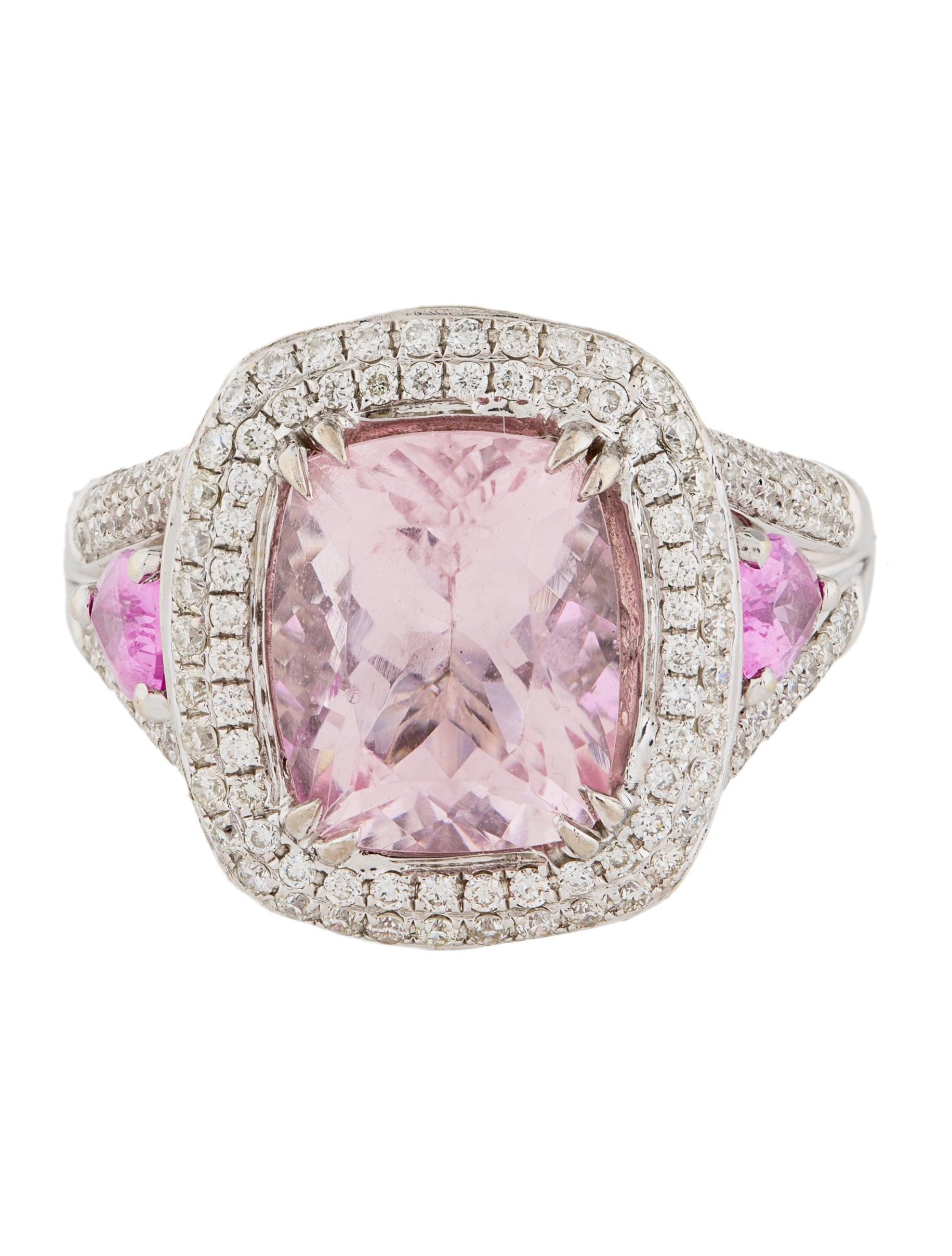 Charles Krypell 18K Morganite, Pink Sapphire & Diamond ...