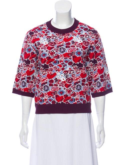 Claudia Li 2019 Jacquard Knit T-Shirt w/ Tags mult