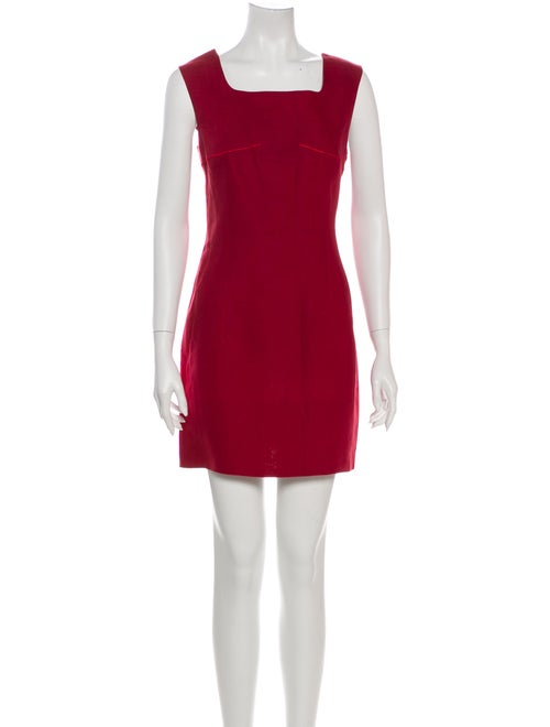 Claude Montana Linen Mini Dress Red